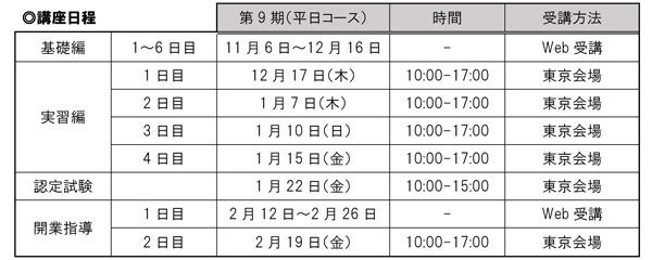 第9期(平日コース)講座スケジュール